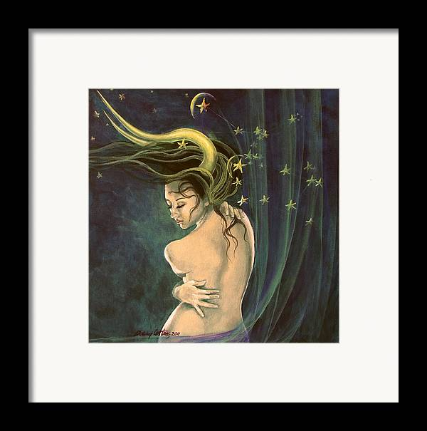 Art Framed Print featuring the painting Taurus From Zodiac Series by Dorina Costras