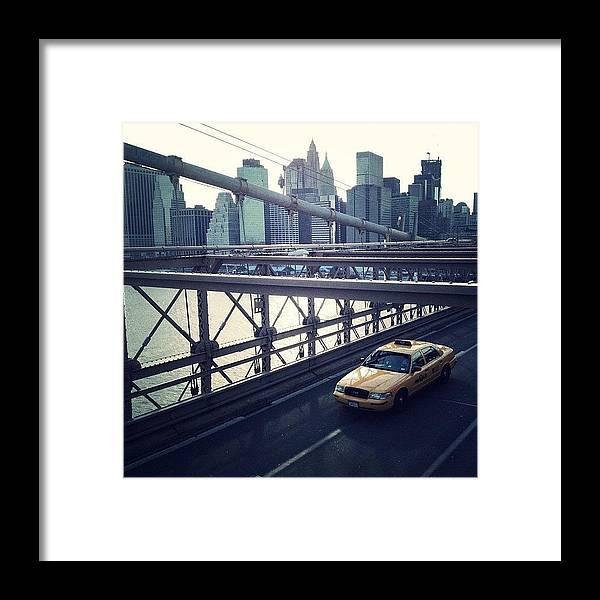Summer Framed Print featuring the photograph Taxi On Bridge by Randy Lemoine