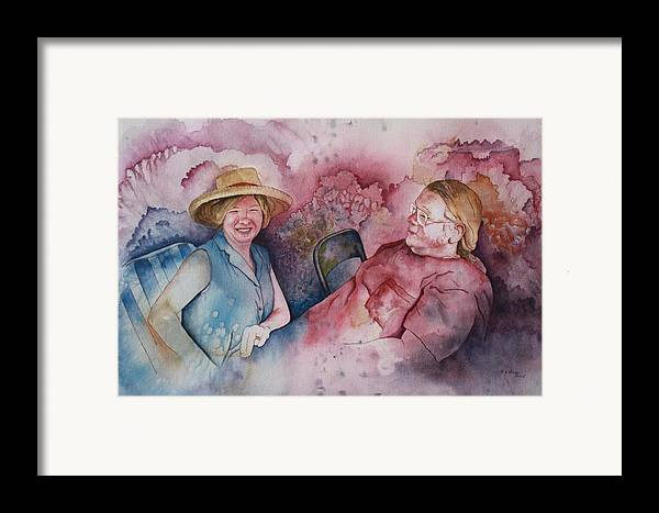 Character Portraits Framed Print featuring the painting Taylor And Chuck At The Picnic by Patsy Sharpe