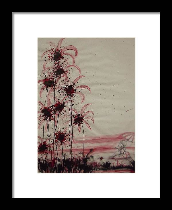 Surrealism Framed Print featuring the mixed media Tea In Red And Black by Matthew Wright