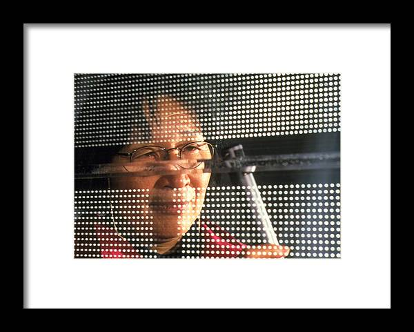 Acoustics Framed Print featuring the photograph Technician Testing A Panel's Sound Reflection by Volker Steger