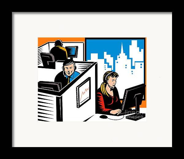 Illustration Framed Print featuring the digital art Telemarketer Office Worker Retro by Aloysius Patrimonio