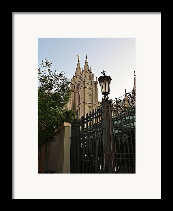 Architecture Framed Print featuring the photograph Temple Square Grounds by Bruce Bley
