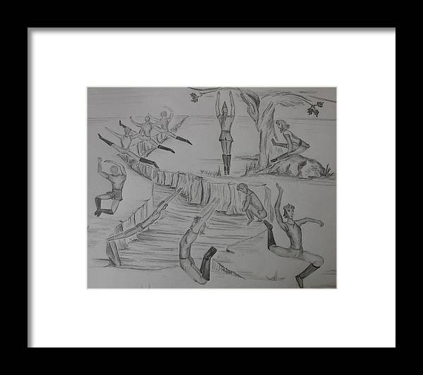 Men Framed Print featuring the drawing Ten Lords A Leapning by Carol Frances Arthur