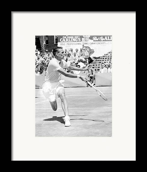 1950s Candids Framed Print featuring the photograph Tennis Champion Jack Kramer, Playing by Everett