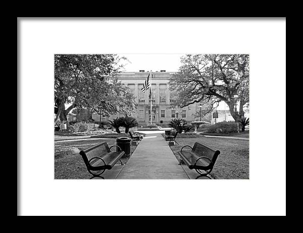 Terrebonne Parish Framed Print featuring the photograph Terrebonne Court House BW by Timothy V Ganier
