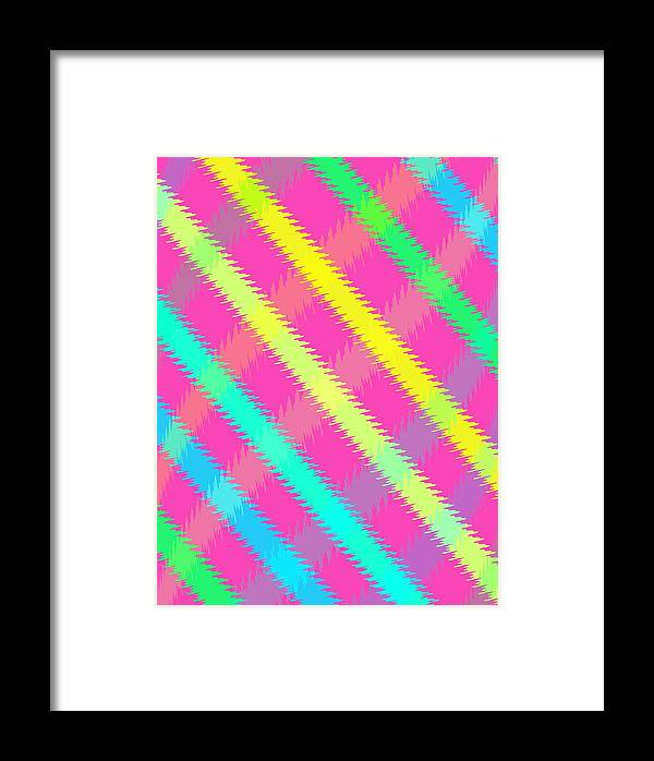 Textured Check (digital) By Louisa Knight (contemporary Artist) Framed Print featuring the digital art Textured Check by Louisa Knight