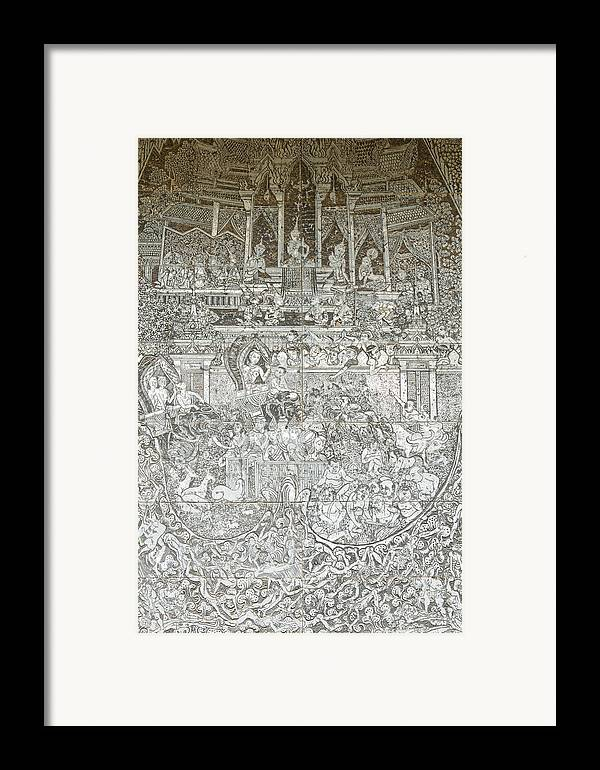 Abstract Framed Print featuring the painting Thai Writing Patterns by Kanoksak Detboon