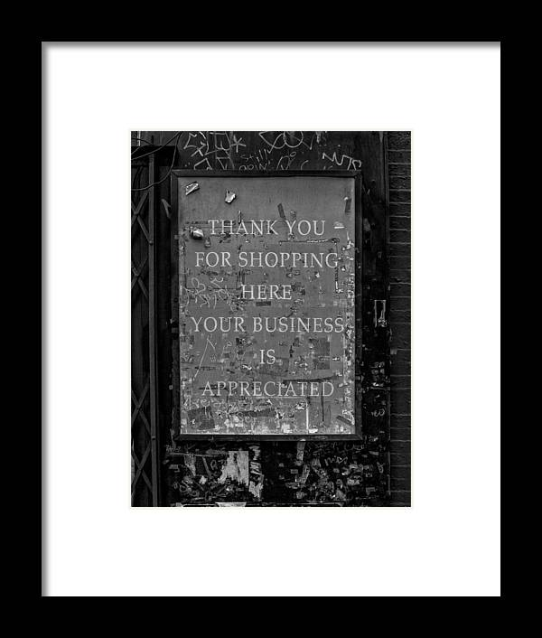 Sign Framed Print featuring the photograph Thank You For Shopping Here by Robert Ullmann