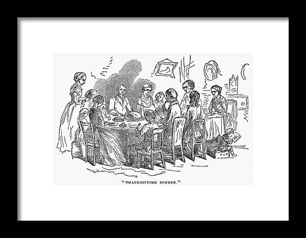1850 Framed Print featuring the photograph Thanksgiving Dinner, 1850 by Granger