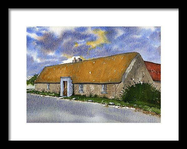 Vernacular Architecture/landscape. Framed Print featuring the painting Thatched House Sandy Lane Rush County Dublin Ireland. by Brendan Lynch