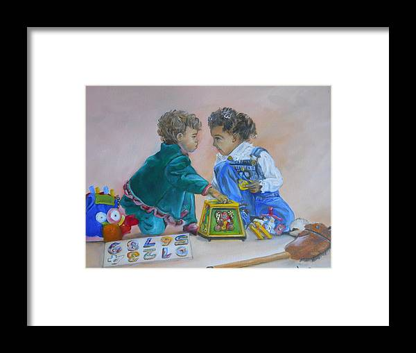 Children Framed Print featuring the painting That's Mine by Joyce Reid