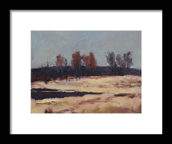 Winter Landscape Framed Print featuring the painting Thaw by Rick Jamison