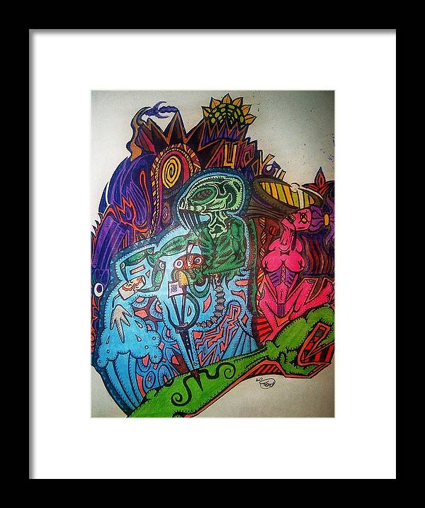 Alien Demon Crazy Unique Bizarre Voodoo Zib Washburn Monster Strange Framed Print featuring the drawing The Alien Post Man by Ragdoll Washburn