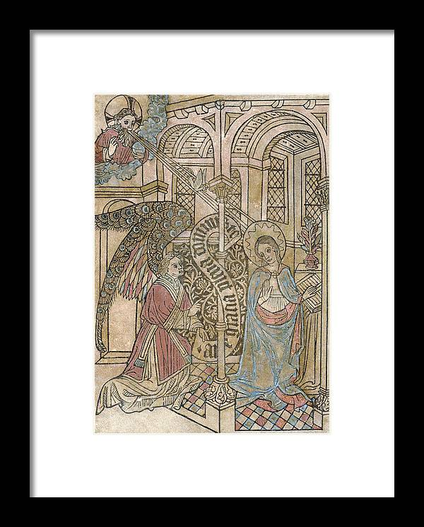 1400s Framed Print featuring the photograph The Annunciation, Depicting by Everett