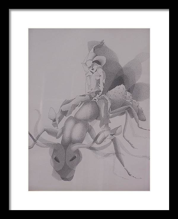 Apache Children Framed Print featuring the drawing The Ant Buster by Gretchen Price
