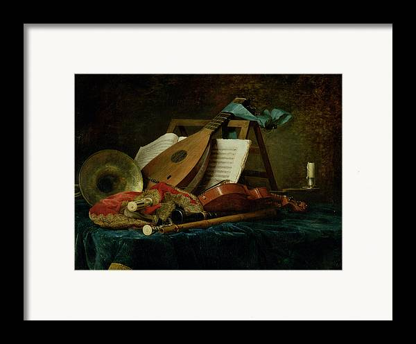 The Attributes Of Music Framed Print featuring the painting The Attributes Of Music by Anne Vallaer-Coster