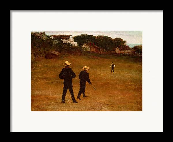 The Framed Print featuring the painting The Ball Players by William Morris Hunt
