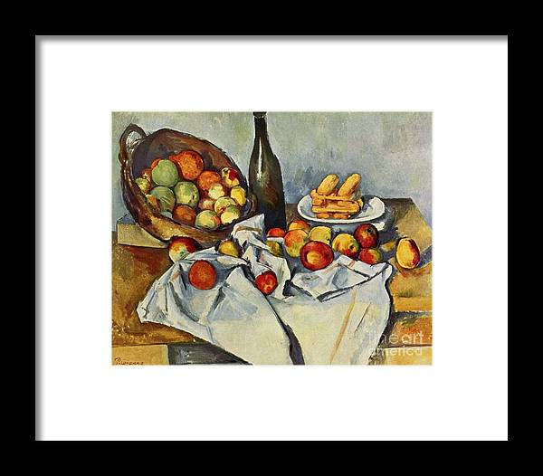 Cezanne Framed Print featuring the painting The Basket Of Apples by Extrospection Art