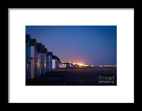 Beach Huts Framed Print featuring the photograph The Beach At Night by Philip Payne