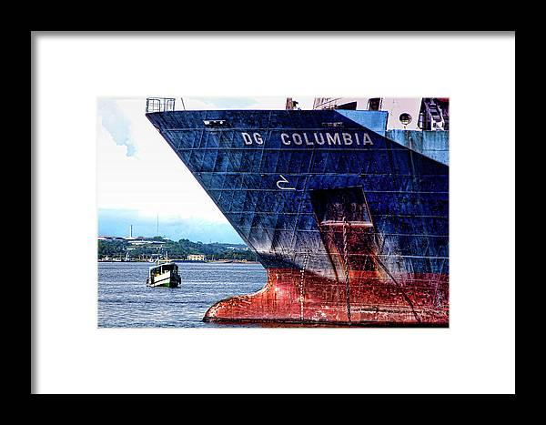 Freighter Ship Framed Print featuring the photograph The Big And The Small by Andre Salvador