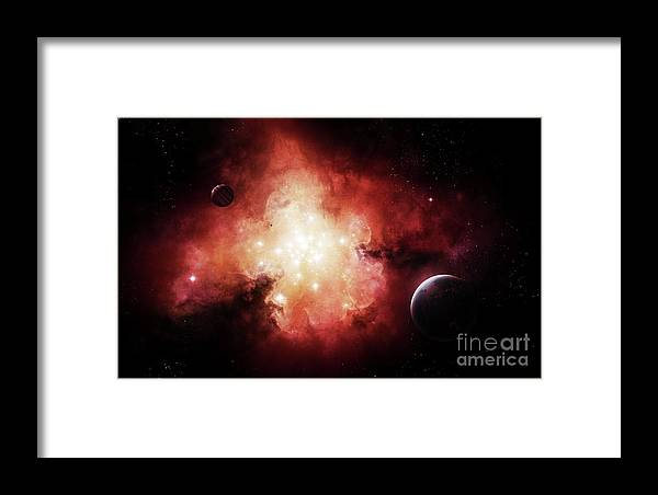 Artwork Framed Print featuring the digital art The Birth Of Numerous Stars Exposing by Brian Christensen