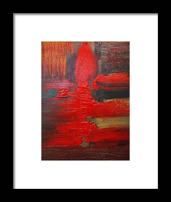 Red Framed Print featuring the painting The Bitter Flame by Michael Scullari