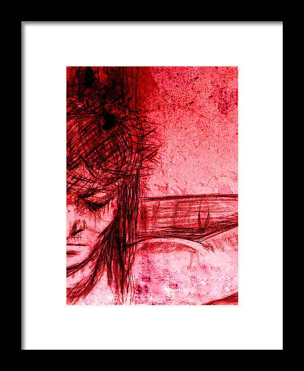 Blood Framed Print featuring the mixed media The Blood Of Christ by Karen Clark