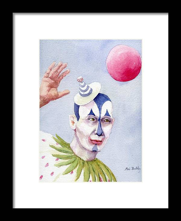 Clown Framed Print featuring the painting The Blue Clown by Mimi Boothby