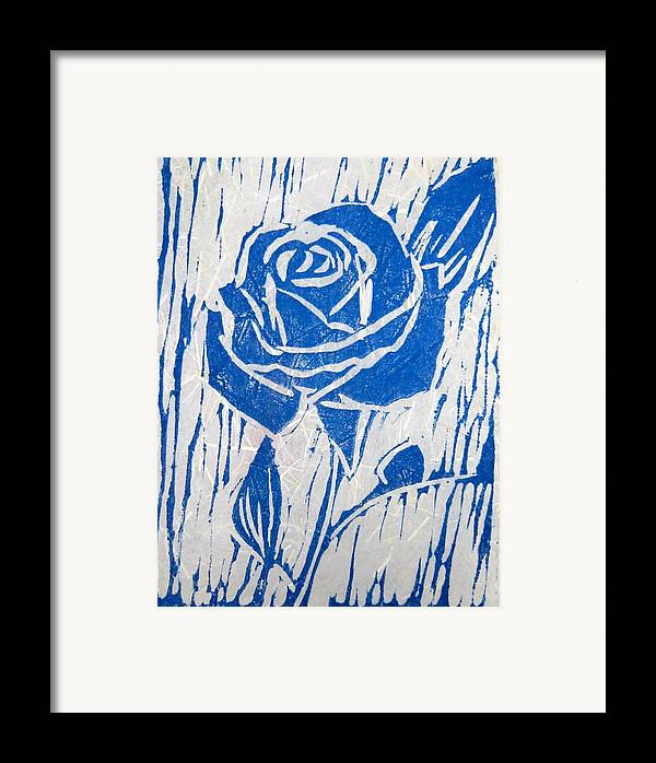 Blue Rose Framed Print featuring the relief The Blue Rose by Marita McVeigh