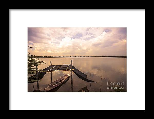 Art Framed Print featuring the photograph The Blue Sky And A Boat by Wittaya Uengsuwanpanich