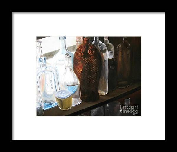 Bottles Framed Print featuring the painting The Bottles by Patricia Lang