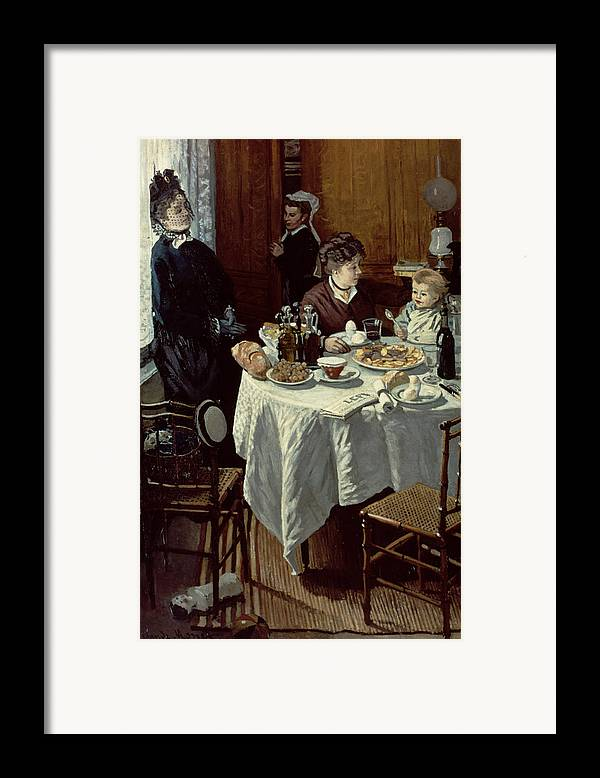 Interior;family;baby;impressionist;maid;feeding;meal;eating;food;daily Life;petit Dejeuner;table;boiled Eggs Framed Print featuring the painting The Breakfast by Claude Monet