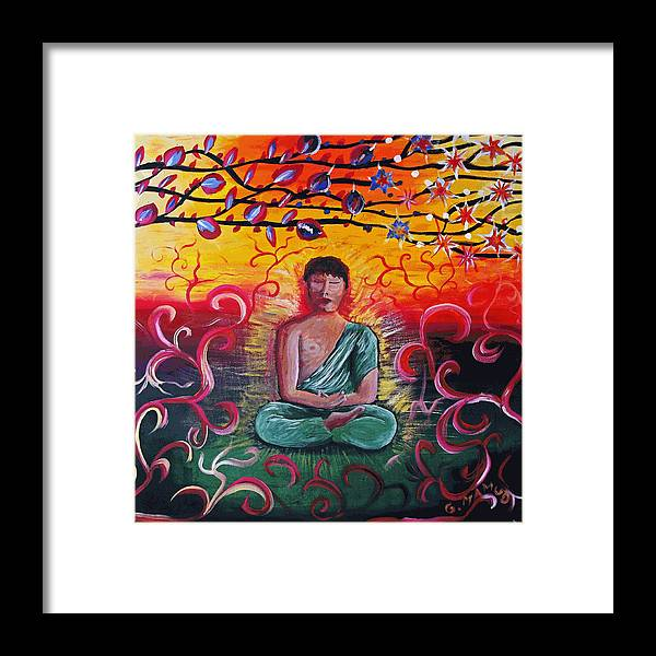 Acrylic Framed Print featuring the painting The Buddha Intense by Mac Mood