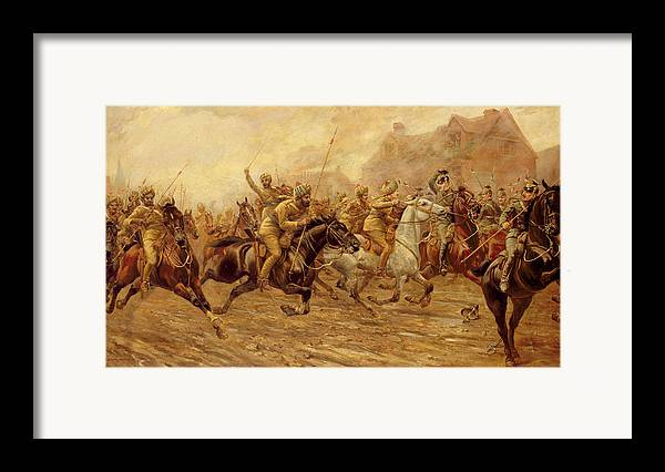 The Charge Of The Bengal Lancers At Neuve Chapelle Framed Print featuring the painting The Charge Of The Bengal Lancers At Neuve Chapelle by Derville Rowlandson
