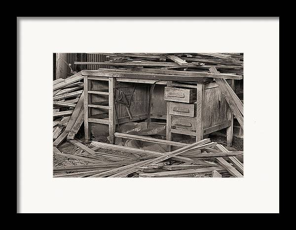 A Cluttered Desk Framed Print featuring the photograph The Cluttered Desk by JC Findley