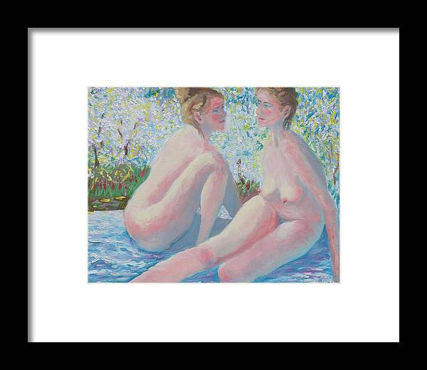 Female Nude Framed Print featuring the painting The Conversation by Robert P Hedden