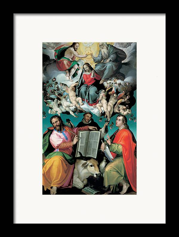 Virgin Mary Framed Print featuring the painting The Coronation Of The Virgin With Saints Luke Dominic And John The Evangelist by Bartolomeo Passarotti