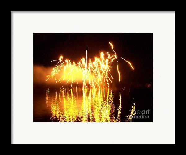 Fireworks Framed Print featuring the photograph The Dance Of Fire And Water by Sasha Marlay