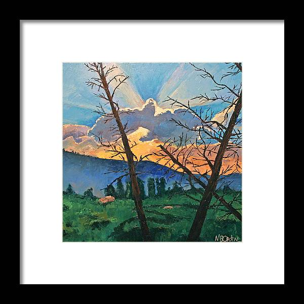 Sunset Framed Print featuring the painting The Drive Home by Missy Borden