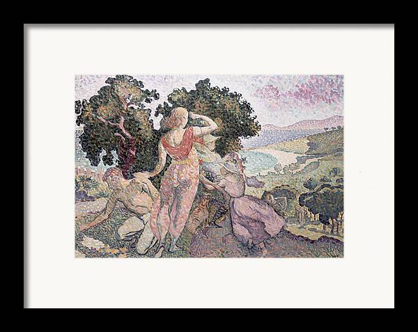 The Excursionists Framed Print featuring the painting The Excursionists by Henri-Edmond Cross
