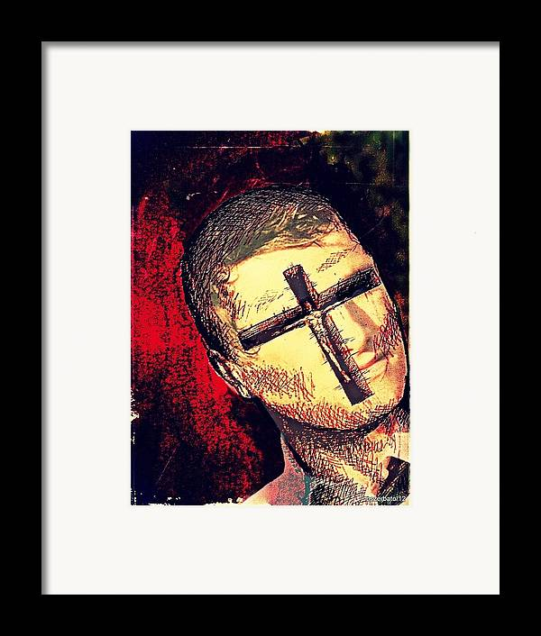 Restlessness Of The Soul Framed Print featuring the digital art The Face Is Sowing Fertile Shadow Of The Cross by Paulo Zerbato