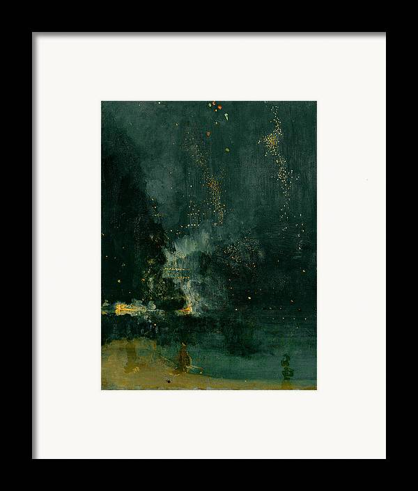 The Framed Print featuring the painting The Falling Rocket by James Abbott Whistler