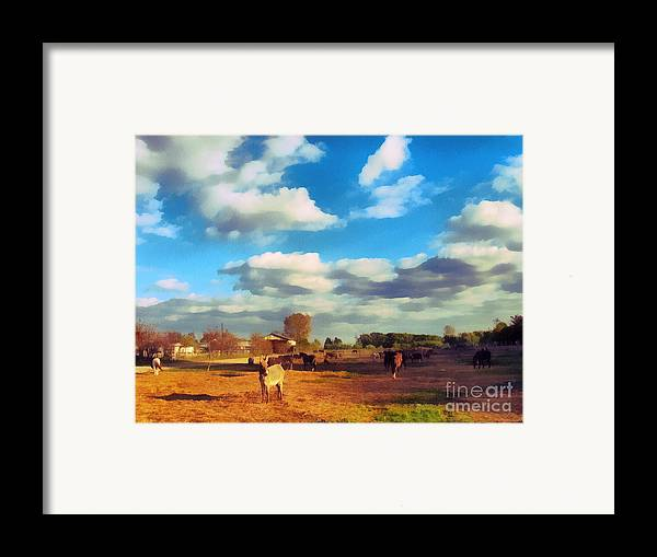 Odon Framed Print featuring the painting The Farm by Odon Czintos