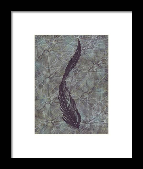 Feather Framed Print featuring the digital art The Feather by Ashley Rommel