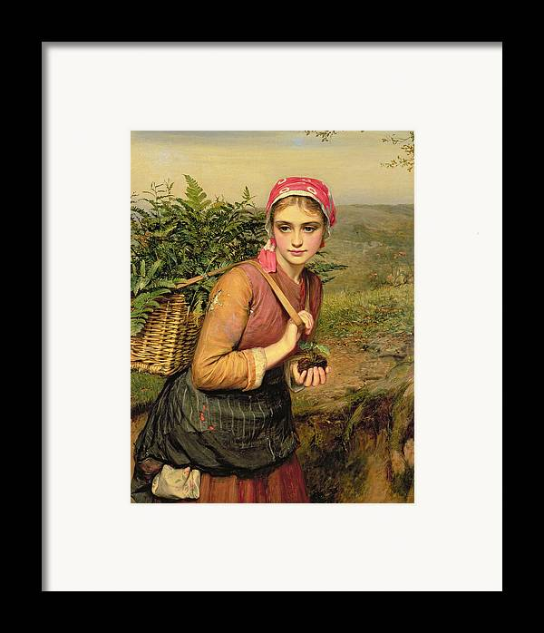 The Fern Gatherer Framed Print featuring the painting The Fern Gatherer by Charles Sillem Lidderdale