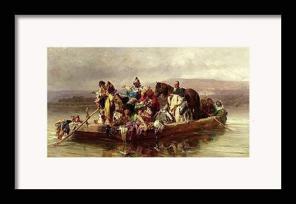 The Framed Print featuring the painting The Ferry by Johann Till