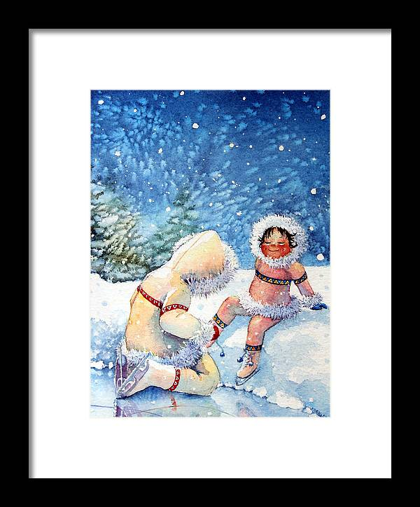 Canadian Childrens Book Illustrator Framed Print featuring the painting The Figure Skater 1 by Hanne Lore Koehler