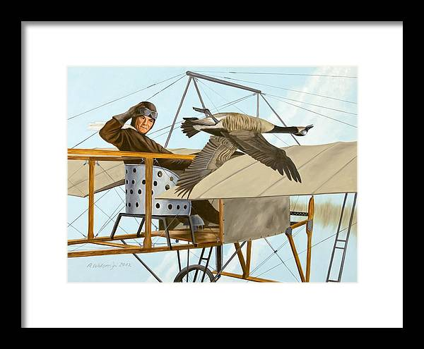 Aviator Framed Print featuring the painting The Fledgling by Karen Wilson