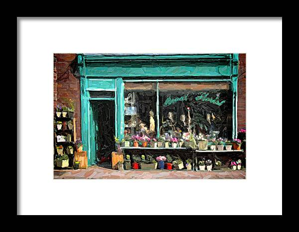 Images Framed Print featuring the digital art The Flower Shop by Martin Fry